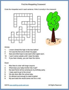 Try our free easy crossword puzzles! Kids find misspelled words & write them correctly into the puzzle. This fun activity also provides great spelling practice! Spelling Games For Kids, Word Puzzles For Kids, Spelling Practice, Sight Word Worksheets, Sight Word Activities, Kids Sight Words, 1st Grade Spelling, Bold Words, English Worksheets For Kids