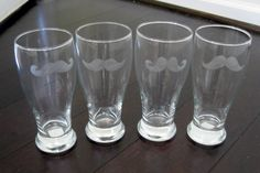 Etched Mustache Glasses (set of 4) //  Mustache Beer Glasses