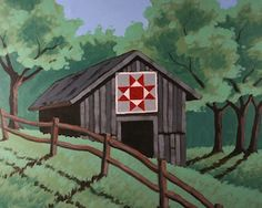 """Social Artworking Canvas Painting Design - Quilt Barn  Quilt Barns dot the landscapes along many US highways and byways, proudly displaying varied quilt block designs which make each barn unique. Use the pattern we've provided or paint your own favorite.  CANVAS SIZE:  16"""" x 20""""  TIME TO PAINT:  approximately 3 hours"""