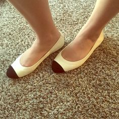 Chanel ballet flats These are Chanel ballet flats white and black cap toe suede. Lightly used good condition some scuffs with box. Comes with dust bags CHANEL Shoes Flats & Loafers