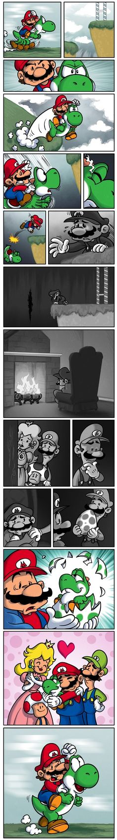 :(  I alway feel jerk to jump out my favorite character Yoshi..... why that high tall is so high that yoshi can't get over that. Video game create this is evil -__-