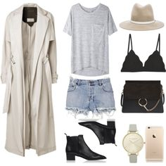 Trench coat + cutoffs + ankle boots by fashionlandscape on Polyvore featuring Mode, rag & bone/JEAN, By Malene Birger, Ksubi, Cosabella, Acne Studios, Chloé, Olivia Burton and rag & bone
