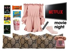 """Movie night"" by ellenfischerbeauty ❤ liked on Polyvore featuring Gucci, Samsung, Hershey's, Boohoo, Darner, movieNight, HowToWear, netflix and waystowear"