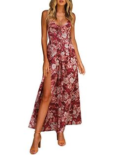 69b6088f609 Simplee Apparel Women s Strap Ruffle Cold Shoulder Floral Print Wrap Maxi  Dress Beach Wide cut flowy