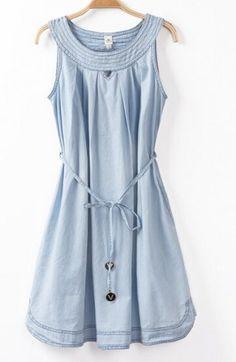 SUMMER NEW FASHION LADIES' OPENWORK LACING BOWKNOT ROUND NECK DENIM DRESS ST1823