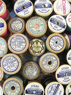 wooden thread spools - my mother still has her mother's spools in use - they are very beautiful & fill me with nostalgia.