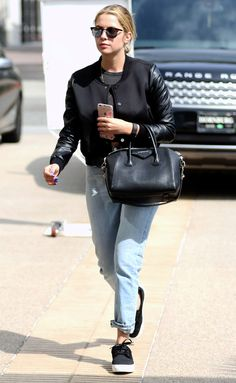 Ashley Benson in boyfriend jeans and a black bomber jacket - click through for more spring outfit ideas!