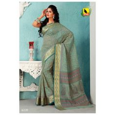 Saree Pista Green Colour in Cotton.Self Work Border & Machine Embroidery. 6220 - Online Shopping for Cotton Sarees by Muhenera