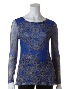 Blue Medallion Print Mesh TopBlue Medallion Print Mesh Top, Blue/Black/White