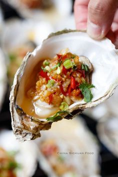 Oyster with hot garlic sauce Fish Dishes, Seafood Dishes, Fish And Seafood, Seafood Recipes, Sushi Recipes, Asian Recipes, Cooking Recipes, Ethnic Recipes, Cooking Blogs