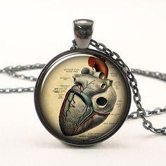 Anatomical Heart Necklace Anatomy Jewelry Goth Pendant by rainnua, $14.45