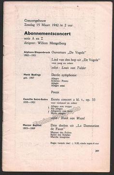 Wezel, Henk van - Concert Program Amsterdam 1942 - Willem Mengelberg