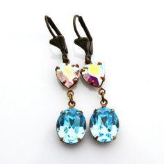 Aquamarine Earrings Blue Swarovski Crystal Dangle Earrings Aurora Borealis Heart Sparkle Earrings Light Blue Aqua Clear Crystal Earrings