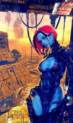 Alien soldier on another planet, space opera / sci-fi inspiration Arte Sci Fi, Sci Fi Art, Cyberpunk Character, Cyberpunk Art, Comic Books Art, Comic Art, Illustrations, Illustration Art, 2000ad Comic