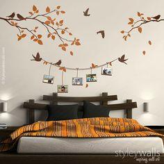Rama con pájaros foto marcos pared calcomanía foto por styleywalls