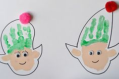 Handprint Elves... this would make a great preschool book by doing all handprints and saying I see a ______