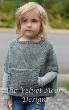 Knitting Pattern for Odia Poncho - Adult and child sizes: 2/3, 4/5, 6/7, 8/9, 10/11, 12/14, Small, Medium, Large sizes. Poncho with armholes and front kangaroo pocket. Quick knit in bulky yarn. Designed by The Velvet Acorn