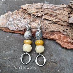 Labradorite Earrings Sterling Silver Lampwork Dangle by YaYJewelry