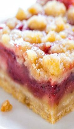 Strawberry Lemonade Bars - a cross between a crumble-topped strawberry pie and a lemon bar. They're sweet from the strawberries, with some tart lemon flavor!