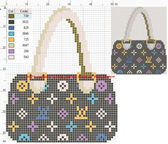 Purse pattern / chart for cross stitch, crochet, knitting, knotting, beading, weaving, pixel art, and other crafting projects