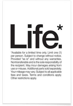 Life* (Black) als Premium Poster von WORDS BRAND™ | JUNIQE