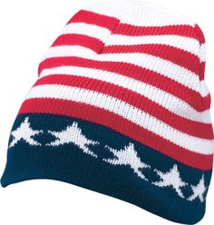 Keep warm in this patriotic knit beanie! $5.95. Available online at the VFW Store.