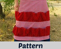 **PLEASE NOTE: This listing is for a PDF sewing pattern/tutorial and instructions. You get to have the fun of shopping for the fabric and making this egg gathering apron yourself from fabrics that you like.**  >>This pattern is available as an INSTANT DOWNLOAD!<<   Collect your eggs in style! With these cute, red-check, farm girl, country cotton calico, egg gathering aprons! Keep your eggs safe as they make their way into your house.  These egg gathering aprons are made to as...