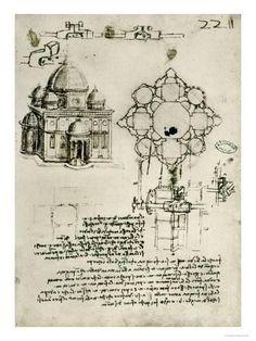 Designs for a Sacred Building and a Lock for a Chest Reproduction procédé giclée by Leonardo da Vinci - AllPosters.ca