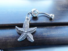 Starfish Belly Button Ring Belly Piercing by MidnightsMojo on Etsy, $13.00