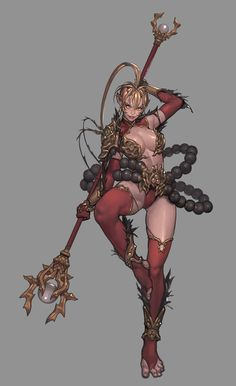 Red Wukong girl, 주혜 김 on ArtStation at https://www.artstation.com/artwork/6dAN0