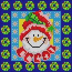 Snowman framed by Snowflakes and Christmas Wreath frames