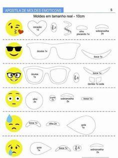 Cute emoji bookmarks with funny faces Ricci and Fantasy Emoji Templates, Stencil Templates, Emoji Bookmarks, Emoji Craft, Felt Keychain, Face Template, Felt Crafts Patterns, Cute Emoji, Smileys