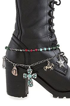 THE JEWEL RACK WESTERN STYLE CROSS MULTI CHARM BOOTS CHAIN ANKLET ** Find out more about the great product at the image link.