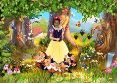 Fotomontaje de Blancanieves. Montajes Disney de excelente calidad.