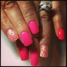 http://www.facebook.com/onglelaval  Pink nails , glitter nails , Ongles laval , laval nails  , résine et poudre , nail art , nail design , natural nails