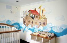 Noah's ark - baby version  Arche de Noé - version bébé  Murale peinte à la main par Catherine Petit (Montréal)  Handmade mural designed and painted by Catherine Petit (Montreal)  - perfect baby room decor -
