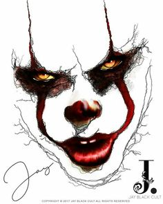 """Pennywise """"the clown from IT """" Joker Drawings, Creepy Drawings, Dark Art Drawings, Creepy Art, Halloween Drawings, Tattoo Drawings, Evil Clowns, Scary Clowns, Fantasy Kunst"""