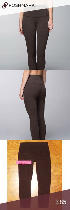 """Lululemon High Times Cotton Bark Brown Rise Waist 📡PRICE IS FIRM AND NON-NEGOTIABLE. NO OFFERS. LOWBALLERS WILL BE BLOCKED. NO TRADES.📡 RARE. Lululemon """"High Times"""" *Cotton yoga pants in Heathered Bark Brown, size 10. High-waisted. Made of super soft Practice Cotton with added Lycra, so the fabric has an intentional slightly """"brushed,"""" cozy look. 7/8 length. Four-way stretch, sweat-wicking, and breathable. lululemon athletica Pants Ankle & Cropped"""