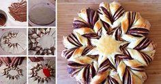 Recept Csavart csokoládés (Nutellás) csillag. Egyszerűen, lépésről lépésre, videóval. Czech Recipes, Ethnic Recipes, Star Bread, Chocolate Stars, Honey Buns, Bread And Pastries, Sweet Breakfast, Food Design, Christmas Baking