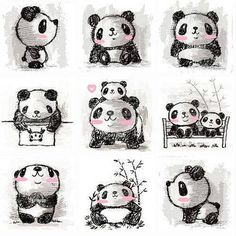 What adorable little kawaii panda sketches. So cute! I love all the different positions put together here. Check out the website to see more: