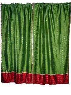 "2 India Curtains Green Maroon Art Silk Sari Drapes Curtains Panels Window Treatment Rod Pocket 84"" by Mogul Interior, http://www.amazon.com/dp/B00BXX1KT8/ref=cm_sw_r_pi_dp_gMXtrb0TWBZ6E"