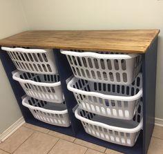 Laundry Basket Shelves, Laundry Basket Holder, Laundry Basket Dresser, Laundry Room Folding Table, Laundry Room Tables, Laundry Basket Organization, Mudroom Laundry Room, Laundry Sorter, Laundry Room Remodel