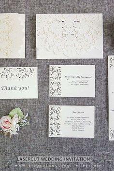 romantic white laser cut wedding invites with matching enclosure cards EWWS132 for elegant wedding ideas
