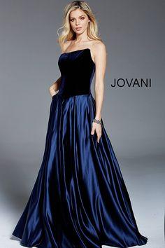 1433484a5a jovani Navy Velvet Strapless A-Line Evening Gown 52068 Navy Evening Dresses