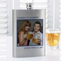 Personalized Photo Flask - great gift idea for groomsmen and bridesmaids! #GroomsmenGift #WeddingGift #BridesmaidGift #Flask