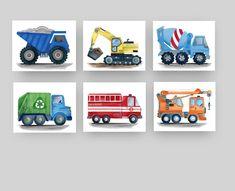 construction truck wall decor, construction art prints for boy nursery bedroom Watercolor Print, Watercolor Illustration, Watercolor Paintings, Art Wall Kids, Art For Kids, Flower Truck, Farm Art, Truck Art, Flower Wall Decor