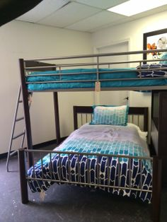 Bunk Bed - Grey/Brown Metal Bunk Bed w/ Full  Twin Bed w/ Desk  Castle Creek Store - $599.95 | Too Good To Be Threw Designer Consignments - San Antonio, TX