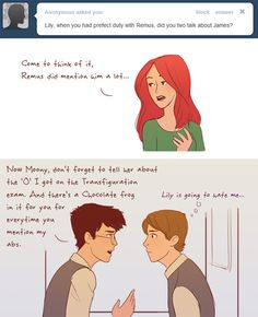 Hahahaha!!!  Lily and Remus on Prefect Duty by julvett.deviantart.com