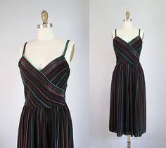 1980s black rainbow STRIPED dress XS S on Etsy, $58.00