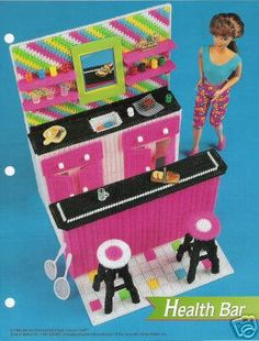 Plastic Canvas Barbie Fashion Doll Pattern Cafe Or Health Bar W/ Stools